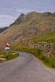 Steep road in Cumbria stock images