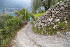 Steep road from Lake Iseo in the mountains Stock Images
