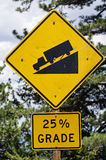 Steep Road Sign. Warning steep road sign with 25 percent grade and truck on hill stock images
