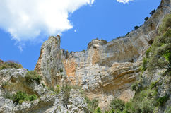 Steep rock face in the Spanish canyon Foz de Lumbier Royalty Free Stock Photography