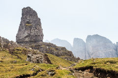 Steep rock in the mist Royalty Free Stock Images