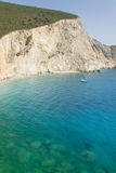 Steep rocky cliff and beautiful blue green sea at Porto Katsiki Royalty Free Stock Image