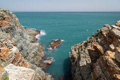 Steep and rocky cliff at the Taejongdae Resort Park in Busan Stock Photography
