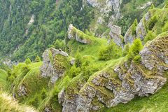Steep rocky mountain slope Stock Photos
