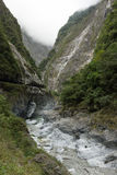 Steep, rugged mountains at the Taroko National Park, Taiwan Royalty Free Stock Photography