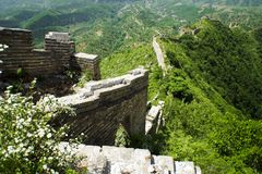 Steep run of the great wall of china Stock Photo