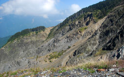 Steep slope of Hehuan Mountain, Taiwan Stock Photo