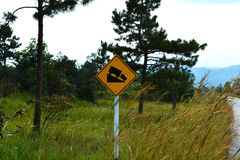 Steep slope road traffic sign Stock Photo