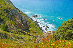 The steep slopes of Cape Roca cliffs Stock Images