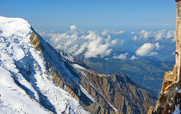 Steep snowy cliffs Swiss Alps Stock Photo