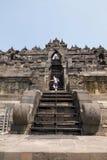 The steep staircase to the top of Borobudur temple. Yogyakarta - September 06, 2016: the steep staircase to the top of Borobudur temple dedicated to Buddha in Stock Photos