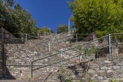 The steep staircase from the train station to the center of the hill town of Corniglia, Cinque Terre, Liguria, Italy stock photo