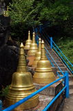 Steep stairs and golden stupas Royalty Free Stock Photography