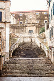 Steep stairs and narrow street in old town of Dubrovnik Stock Photos
