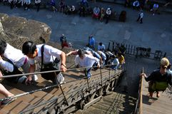Steep stairs for tourists at Angkor Wat temple royalty free stock photo