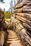 The steep stairway that goes from the top of the Athabasca Falls to the canyo Stock Photography