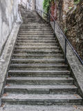 Steep stairway going up to the Trsat Castle. stock photo