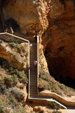 Steep steps down the cliffs at Ponta da Piedade. Stock Images