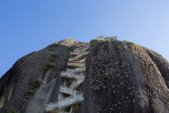 Steep steps rising up Guatape Rock, the Piedra el Penol, Colombi stock images