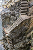 Steep stone stairway. Royalty Free Stock Photography