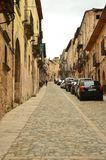 Steep Street With End In The Castle And Hostel Of Siguenza. Architecture, Travel, Renaissance. stock image