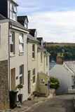 Steep street at Fowey, Cornwall Stock Image