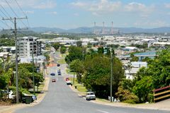 Steep street in a hilly neighbourhood of Gladstone, Australia. royalty free stock photo
