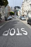 Steep street in Russian Hill, San Francisco. August 2014 - View of a very steep street with cars in Russian Hill, San Francisco (California Stock Photos
