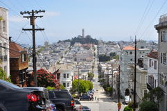 Steep street in Russian Hill, San Francisco Stock Image