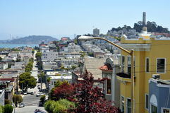 Steep street in San Francisco from Russian Hill Stock Images
