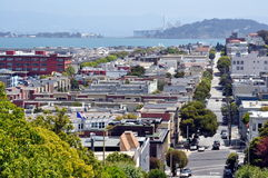 Steep street in San Francisco from Russian Hill Stock Photography