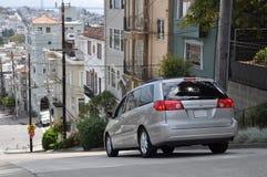 Steep street in San Francisco at Russian Hill. View of a very steep street with car at Russian Hill, San Francisco (California Royalty Free Stock Photos