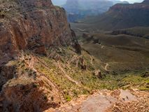 South Kaibab Trail, Switchbacks, Grand Canyon National Park. A steep switchbacked section of the South Kaibab Trail in Grand Canyon National Park in Arizona Stock Photos