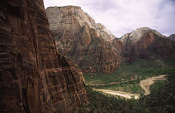 Steep walls of Zion Canyon, Utah Stock Photos