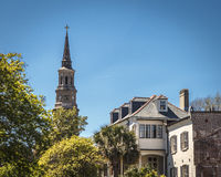 Steeple Against the Sky. Church Steeple in Charleston, SC, USA Stock Photos