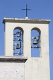 Steeple with bells. Church in Rome, Italy Royalty Free Stock Images
