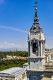 The steeple of Cathedral of Almudena Stock Photos