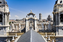 The steeple of Cathedral of Almudena Stock Images