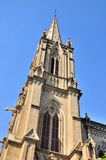 Steeple of Catholic church in gothic style Royalty Free Stock Images