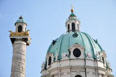 The steeple Charles church of Vienna Royalty Free Stock Photo