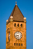 Steeple and clock. Marketplace tower clock in Springfield, Ohio Royalty Free Stock Photo