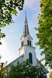 Steeple della chiesa della Nuova Inghilterra fotografia stock libera da diritti