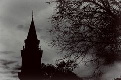 Steeple noir et blanc photographie stock