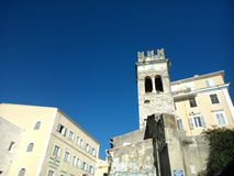 Steeple in the old town of Corfu. Steeple in Corfu. in Evgeniou Voulgareos street Stock Photography