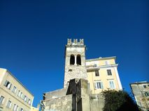 Steeple in the old town of Corfu Stock Images
