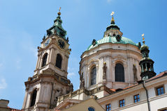 Steeple of Saint Nicolas church in Prague Stock Photography