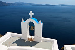 Steeple at Santorini island in Greece Royalty Free Stock Photography
