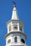 The steeple of St. Michael's Church in downtown Charleston, South Carolina. Royalty Free Stock Image