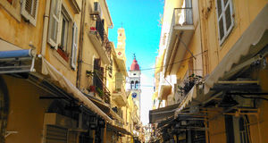 The Steeple of St. Spiridon. In a road in old Town of Corfu island Greece Stock Photos
