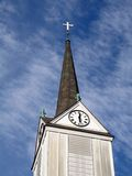 Steeple In Time. This is a steeple shot of an old white church in Englishtown NJ. The clock is still working royalty free stock photography
